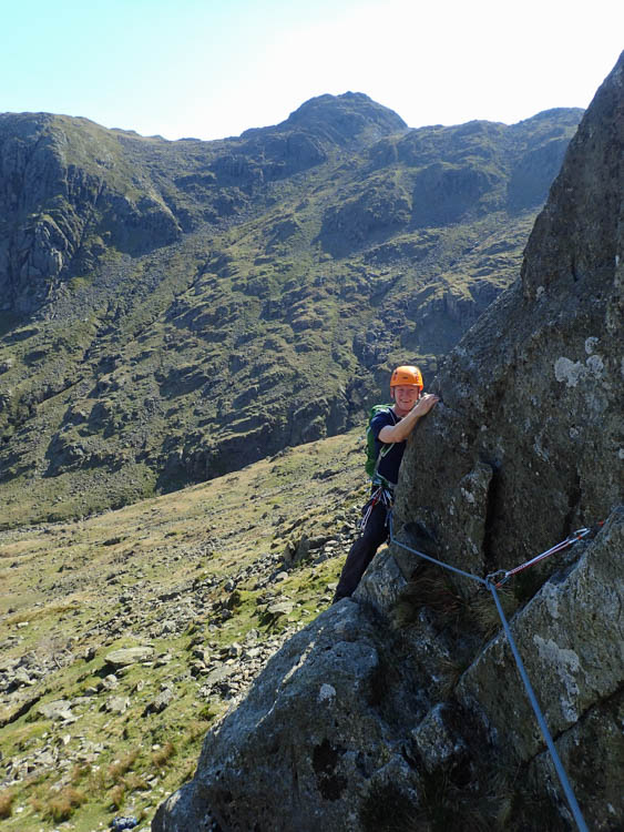Jim on Pitch 1 of Corvus, heading into Tyro's Gully